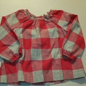 Pink and soft gray flannel top